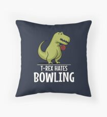 T-Rex Hates Bowling Funny Short Arms Throw Pillow
