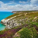 Walkers on the St Agnes heritage coast path , Chapel Porth Cornwall by eddiej