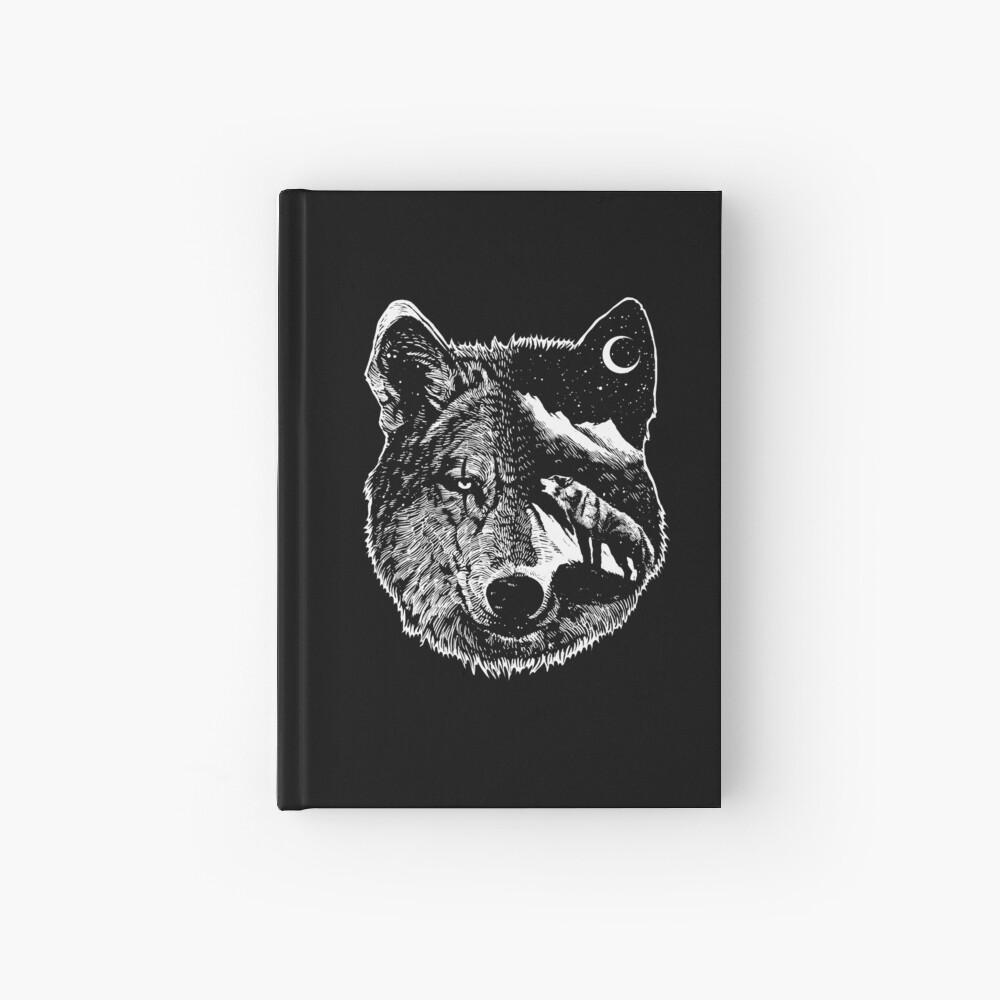 Night wolf - Animal Theme Design Suitable for Men and Women Hardcover Journal