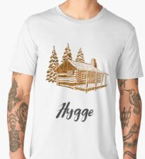Hygge Design of a Cosy Cabin by Woodland Doodles Men's Premium T-Shirt