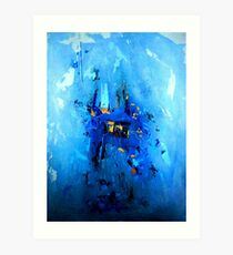 Blue, Black and White Art Print