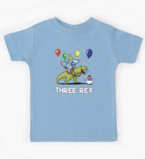 Three Rex Kids 3rd Birthday Shark Riding Dinosaur Kids Tee