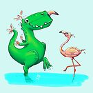 Horst the T-Rex – two Birds von Birgit Schiffer