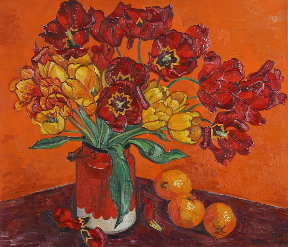 Tulips and oranges by Vitali Komarov