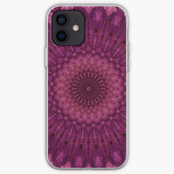 Mandala in red and purple tones iPhone Soft Case