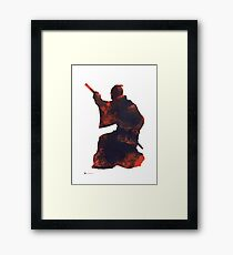 Samurai silhouette painting watercolor art print Framed Print