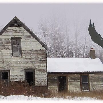 Old Shack and Eagle by thegrafaxspot