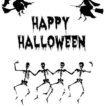 skull dance halloween tshirt by manatti