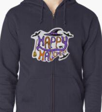 Happy Halloween Typography Zipped Hoodie