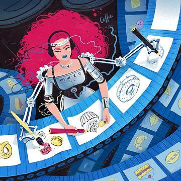 Robot artist girl by Sofia-G