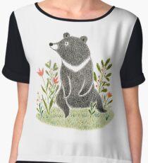 Formosan Black Bear - Colored Pencil Nursery Art Women's Chiffon Top