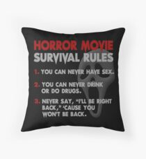 Horror Movie Rules Throw Pillow
