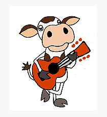 Silly Cute Brown and White Cow Playing Guitar Art Photographic Print