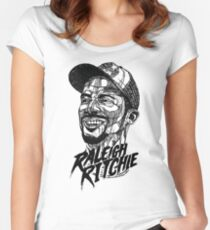 Raleigh Ritchie - Lines Black & White Women's Fitted Scoop T-Shirt