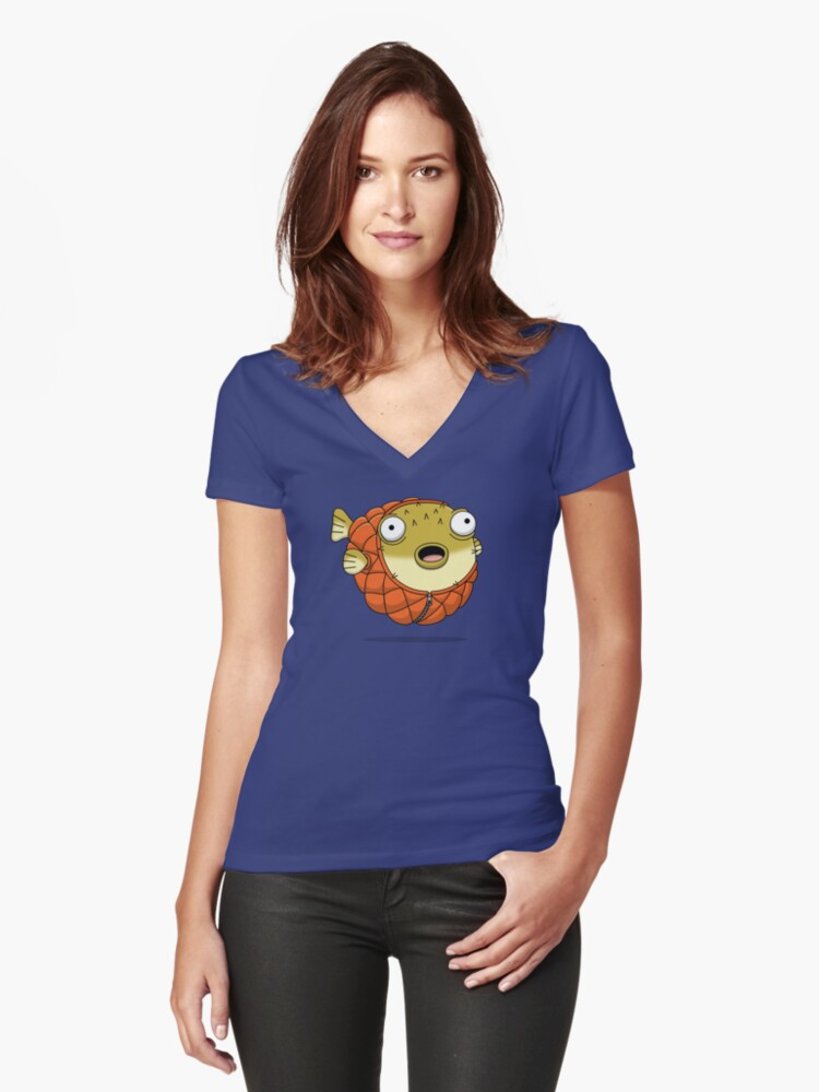 Puffer fish Women's Fitted V-Neck T-Shirt Front