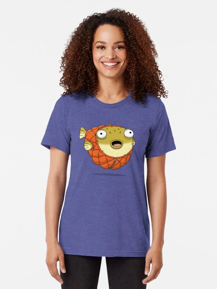Alternate view of Puffer fish Tri-blend T-Shirt