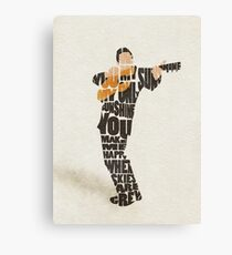 Typographic and Minimalist Johnny Cash Illustration Canvas Print