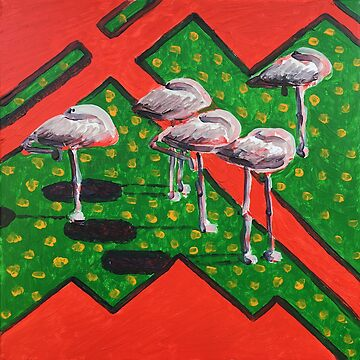 Flamingos are sleeping during Siesta. by anatolkin