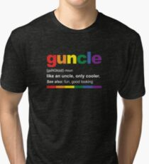 Guncle Definition Funny Gift for Gay Uncle Tri-blend T-Shirt