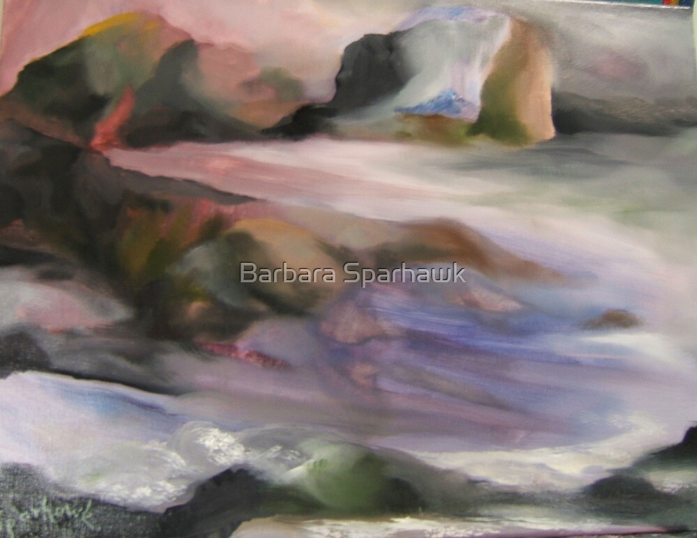 TWILIGHT~~PACIFIC OCEAN,  CENTRAL COAST, WHERE THE RIVER JOINS THE SEA by Barbara Sparhawk