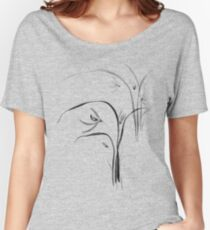 Wild orchids Sumi-e Japanese Zen painting of flowers on light blue art print Women's Relaxed Fit T-Shirt