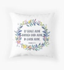 By Grace Alone - Christian Quote Throw Pillow