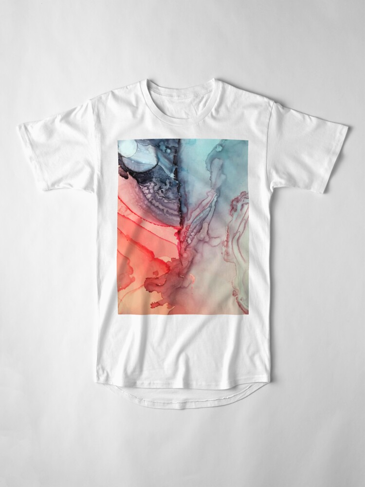 Alternate view of Undertown Meets Lava- Alcohol Ink Painting Long T-Shirt