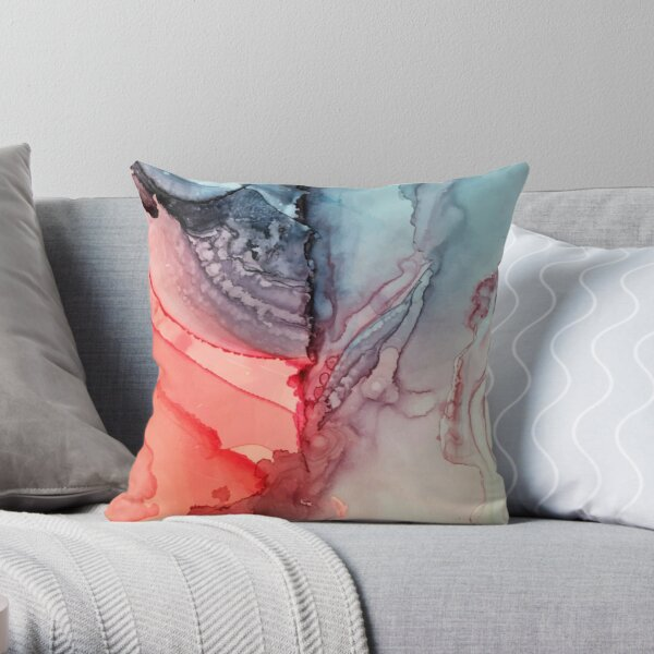 Undertown Meets Lava- Alcohol Ink Painting Throw Pillow