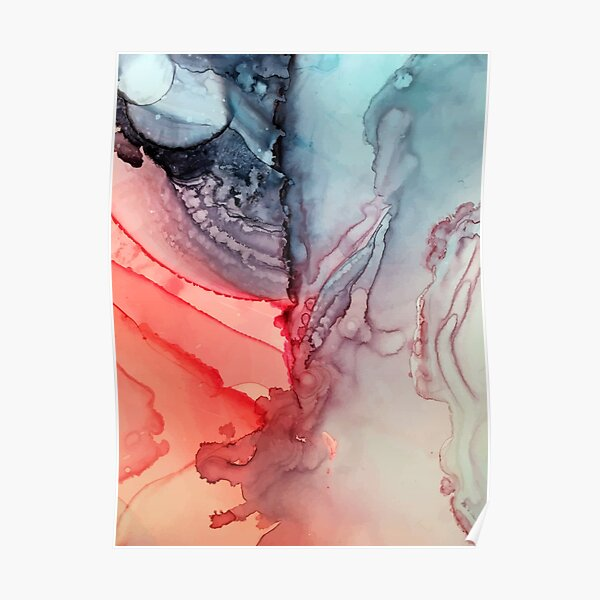 Undertown Meets Lava- Alcohol Ink Painting Poster