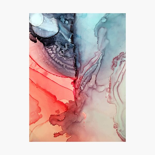 Undertown Meets Lava- Alcohol Ink Painting Photographic Print