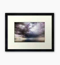 Fantasy cloudscape with UFO activity Framed Print