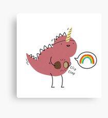 Dinosaur dressed up as a unicorn  Canvas Print