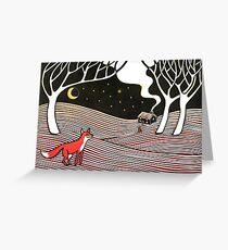 Stargazing - Fox in der Nacht - Original Linolschnitt von Francesca Whetnall Grußkarte