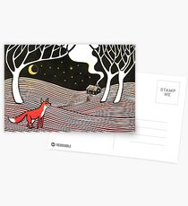 Stargazing - Fox in the Night - original linocut by Francesca Whetnall Postcards