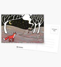 Stargazing - Fox in der Nacht - Original Linolschnitt von Francesca Whetnall Postkarten