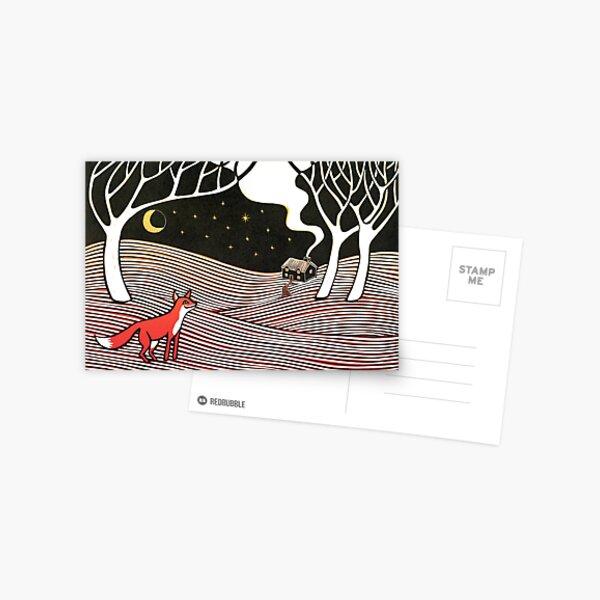 Stargazing - Fox in the Night - original linocut by Francesca Whetnall Postcard