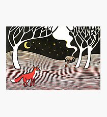 Stargazing - Fox in the Night - original linocut by Francesca Whetnall Photographic Print