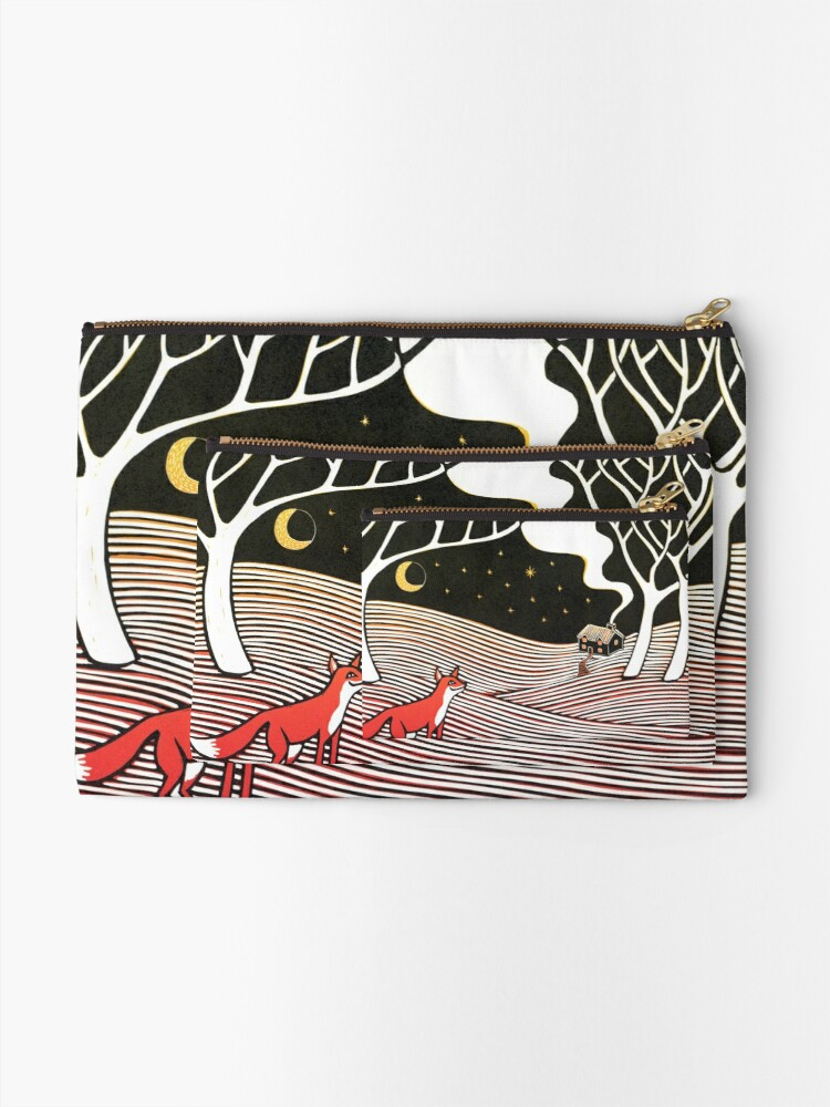 Alternate view of Stargazing - Fox in the Night - original linocut by Francesca Whetnall Zipper Pouch