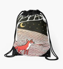 Stargazing - Fox in the Night - original linocut by Francesca Whetnall Drawstring Bag