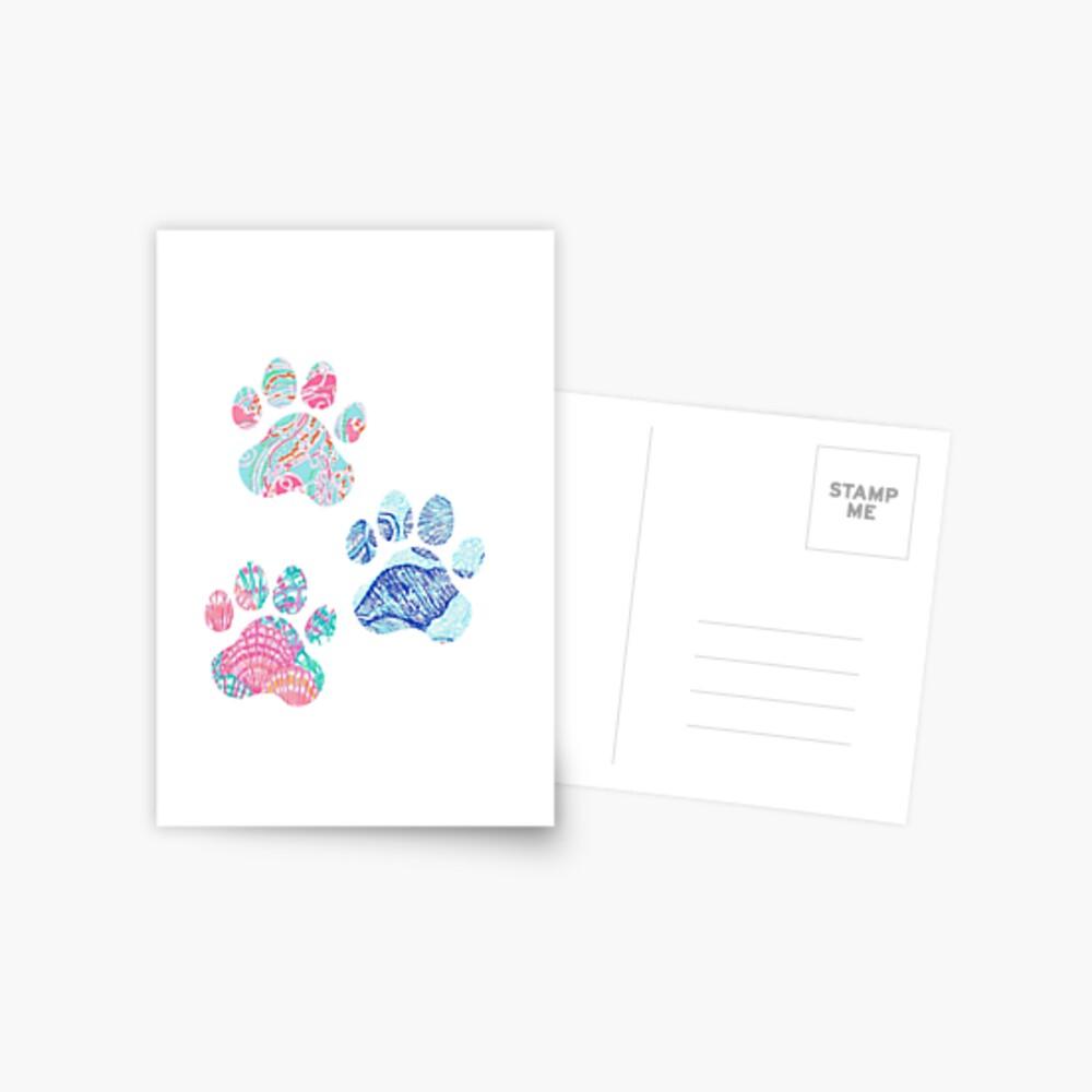Preppy Paw Print Trio Postkarte