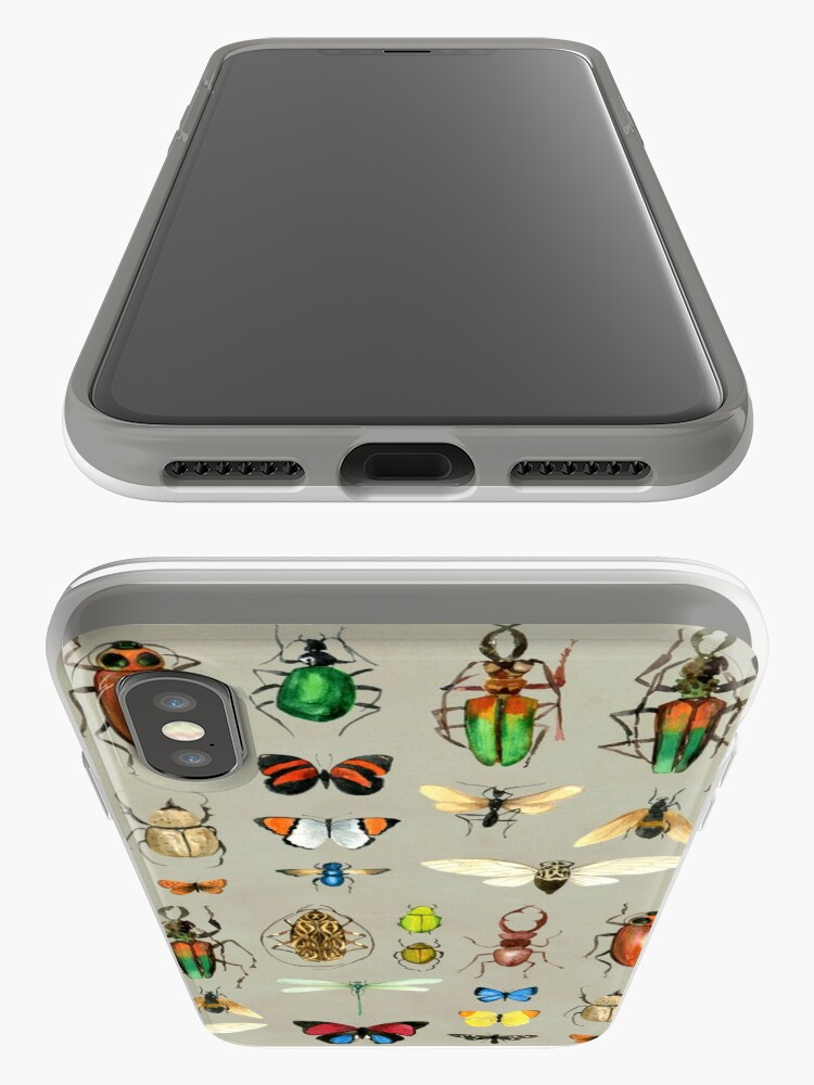 Alternate view of The Usual Suspects - Insects on grey - watercolour bugs pattern by Cecca Designs iPhone Case & Cover
