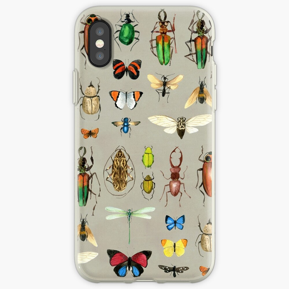 The Usual Suspects - Insects on grey - watercolour bugs pattern by Cecca Designs iPhone Case & Cover