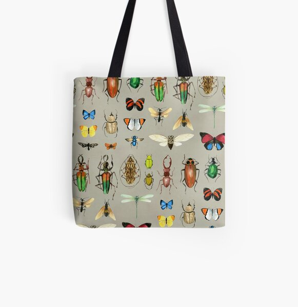 The Usual Suspects - Insects on grey - watercolour bugs pattern by Cecca Designs All Over Print Tote Bag