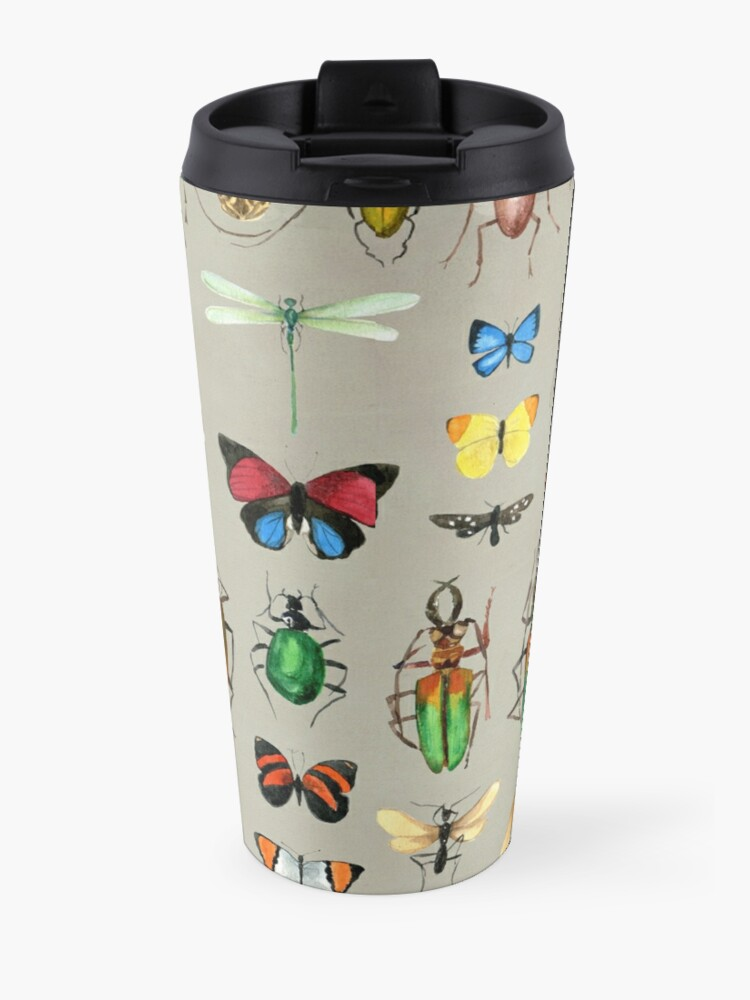 Alternate view of The Usual Suspects - Insects on grey - watercolour bugs pattern by Cecca Designs Travel Mug