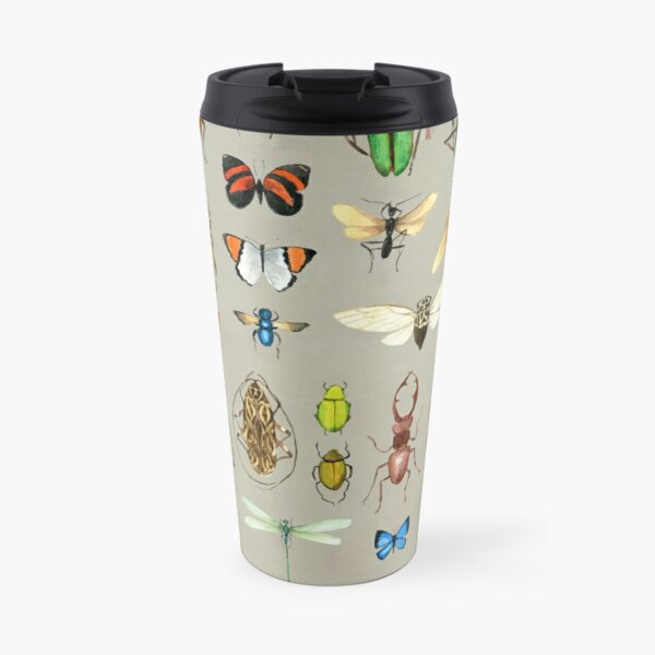 The Usual Suspects - Insects on grey - watercolour bugs pattern by Cecca Designs Travel Mug