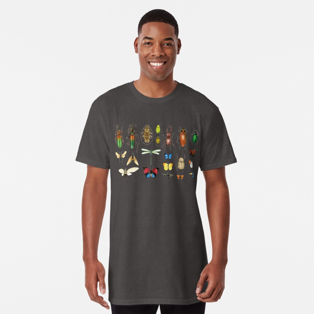 The Usual Suspects - Insects on grey - watercolour bugs pattern by Cecca Designs Long T-Shirt