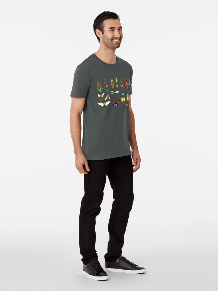 Alternate view of The Usual Suspects - Insects on grey - watercolour bugs pattern by Cecca Designs Premium T-Shirt