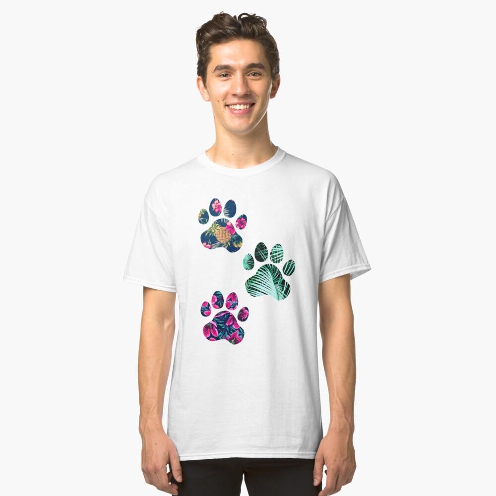 Tropisches Pfotenabdruck-Trio Classic T-Shirt