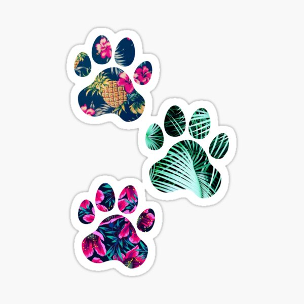 Tropical Paw Print Trio Sticker