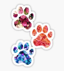 Rose Paw Print Trio Sticker